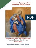 7 de Octubre. Nuestra Señora, La Virgen del Rosario. Propio y Ordinario de la santa misa