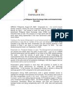 PR - Emperador joins PSE Index and Industrial Index this week