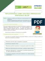 FICHA DE AUTOAPRENDIZAJE CIENCIA Y TECNOLOGIA SESION EVALUACIÓN PRIMER GRADO