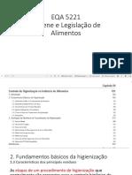 Higiene e Legislação de Alimentos