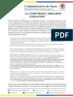 Aviso Informativo Tribunal Adminsitrativo de Sucre
