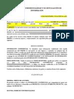 FORMATO. ACUERDO DE CONFIDENCIALIDAD Y NO DIVULGACIÓN DE INFORMACIÓN