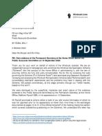 Letter - Windrush Lives - Rycroft Evidence 10 Sep