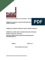 DIAGNOSTICOS PSICOPEDAGOGICOS COLPOS TEJUPILCO MEXICO A 22  DE AGOSTO    DEL 2020