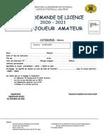 03 - DEMANDE DE LICENCE Séniors  joueur amateur  2020-2021