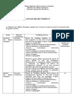 Avis de recrutement en  français
