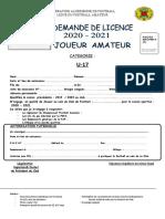 05 - DEMANDE DE LICENCE U17  joueur amateur  2020-2021