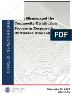 FEMA Mismanaged the Commodity Distribution Process in Response to Hurricanes Irma and Maria