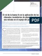 EL ROL DE LA BUENA FE EN CLAUSULAS RESOLUTORIAS REP DOM Y JUEZ FRANCES
