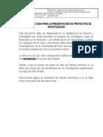 R-INVE-004  PRESENTACION PROYECTOS DE INVESTIGACIÓN