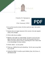 Charles H. Spurgeon - 31st January 1892