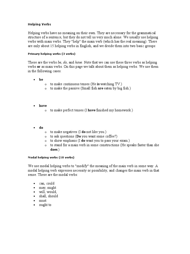 Helping Verbs Grammatical Tense – Main and Helping Verbs Worksheets
