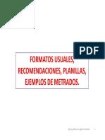 FORMATOS DE METRADOS, PLANILLAS, RECOMENDACIONES, EJEMPLOS