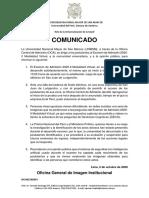 Comunicado - OCA02102001 - Sobre Supuestos Hechos Ocurridos Durante El Examen de Admisión 2020-II Modalidad Virtual - VF