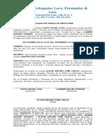 DECLARACION JURADA DE UNION LIBRE DIEGO RAFAEL LORA y CARMEN PAULINO