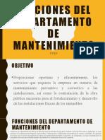 Funciones del departamento de mantenimiento