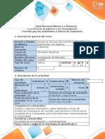 Guía de actividades y Rubrica de evaluación Paso 4. Documento final de la investigación de mercados