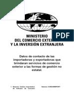 200717 MINCEX Datos de contacto de las importadoras y exportadoras sin productos