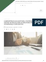 A importância da Auditoria, Controle Interno e Gestão de Riscos para as melhores práticas de Governança Corporativa – Portal de Auditoria