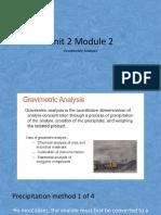Unit 2 Module 2 Gravimetric Analysis