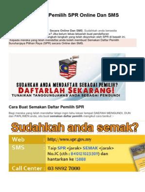 Semakan Daftar Pemilih Spr Online Dan Sms Pdf
