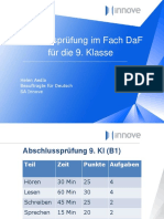 Abschlussprüfung im Fach DaF für die 9. Klasse. Helen Aedla Beauftragte für Deutsch SA Innove