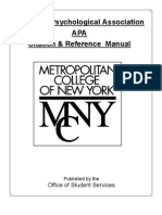 MCNY/Audrey Cohen APA Easy Research Guide
