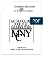 MCNY/Audrey Cohen MLA Easy Research Guide