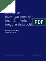 Informe de investigaciones por financiamiento irregular de la política
