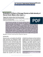 Evaluation of Effect of Storage Period on Bulk density of Stored Grain Maize (Zea mays L.)""
