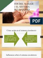 EFECTOS DEL MASAJE EN EL SISTEMA CIRCULATORIO