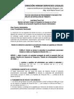 Modelo Solicitud de Caducidad de Papeleta Por Infracción de Tránsito - Autor José María Pacori Cari