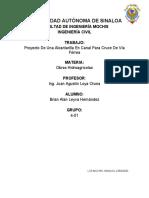 PROYECTO DE UNA ALCANTARILLA EN CANAL PARA CRUCE DE VIA FERREA