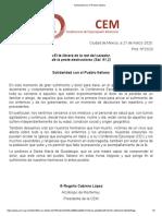 2.- Solidaridad con el Pueblo Italiano