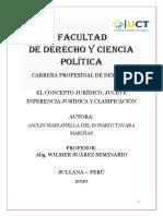 EL CONCEPTO JURÍDICO, JUCIO E INFERENCIA JURÍDICA Y CLASIFICACIÓN terminado
