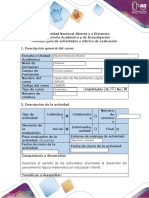Guía de actividades y rúbrica de evaluación - Paso 1 - Unidad Evaluación Inicial