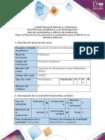 Guía de actividades y rúbrica de evaluación - Paso 2 - Reconocer los procesos y contenidos para el DPLM en la educación infantil