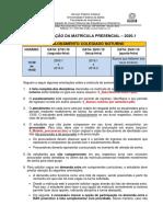 1_ORGANIZACAO Matricula 2020.1 - NOTURNO