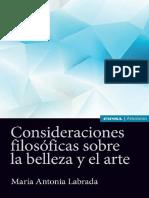 Labrada, María Antonia, Consideraciones filosóficas sobre la belleza y el arte,  EUNSA  2017