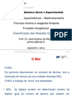 Quimica geral experimental - Aulas de Funções Inorgânicas, Balanceamento e Cálculos Estequiométricos