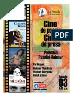 Afiche sobre cine de poesía cine de prosa