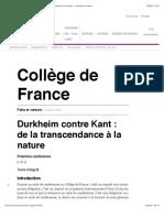 Durkheim contre Kant