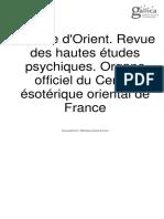 L'Étoile d'Orient. Revue des hautes études psychiques. Organe officiel du Centre ésotérique oriental de France - Année 1 N°1