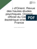 L'Étoile d'Orient. Revue des hautes études psychiques. Organe officiel du Centre ésotérique oriental de France - Année 1 N°3-4