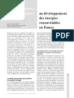 Les contraentes sociologiques au développement des énergies renouvelables en France