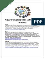 valley high school clubs