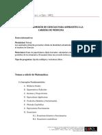 Temario Examen Ciencias - Medicina 2021