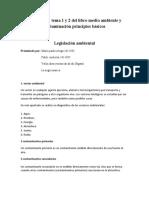 Glosario del tema 1 y 2 del libro medio ambiente y contaminación principios básicos