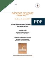 RAPPORT DE STAGE Classe de 3ème Du 23 au 27 Janvier 2017