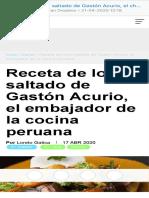Receta de lomo saltado de Gastón Acurio, el chef más famoso de Perú